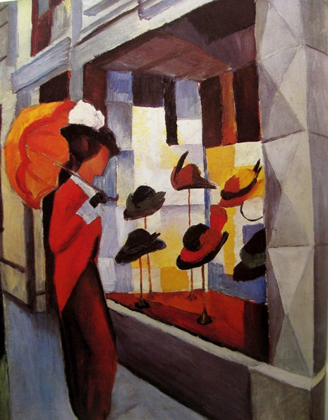 august macke hoedenwinkel 1914 Vrouw en hoed bij August Macke