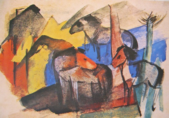 franz marc drei pferde 1913 Ontaarde paarden/Franz Marc, Kees van Dongen en anderen