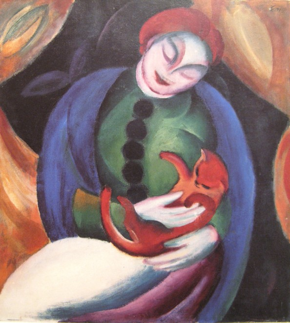 franz marc maedchen mit katze 1912 De Blaue Reiter: poezen/ Paul Klee, Franz Marc