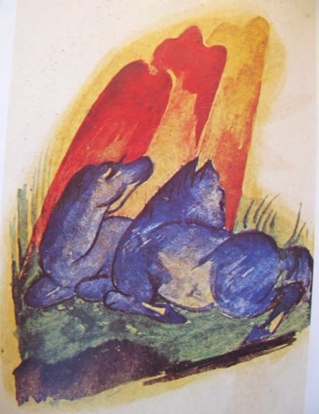 franz marc zwei blaue pferde vor rotem felsen 1913 Ontaarde paarden/Franz Marc etc