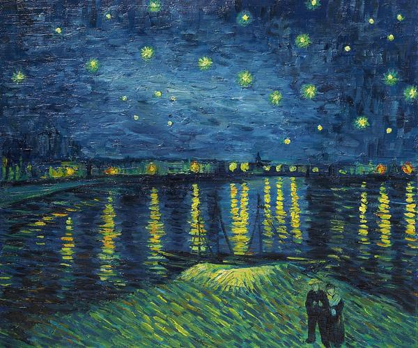 Vincent van_Gogh, symbolisme, Sterrennacht over de Rhone, 1889 starry night