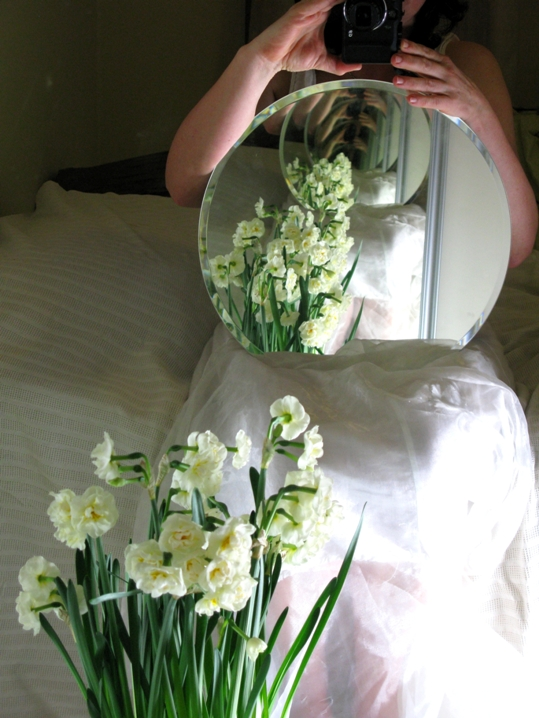 White narcissus in the mirror (Droste effect) foto Maria Trepp